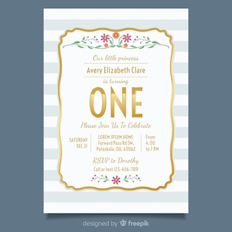 First birthday golden text card template