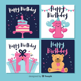 First birthday greeting collection template