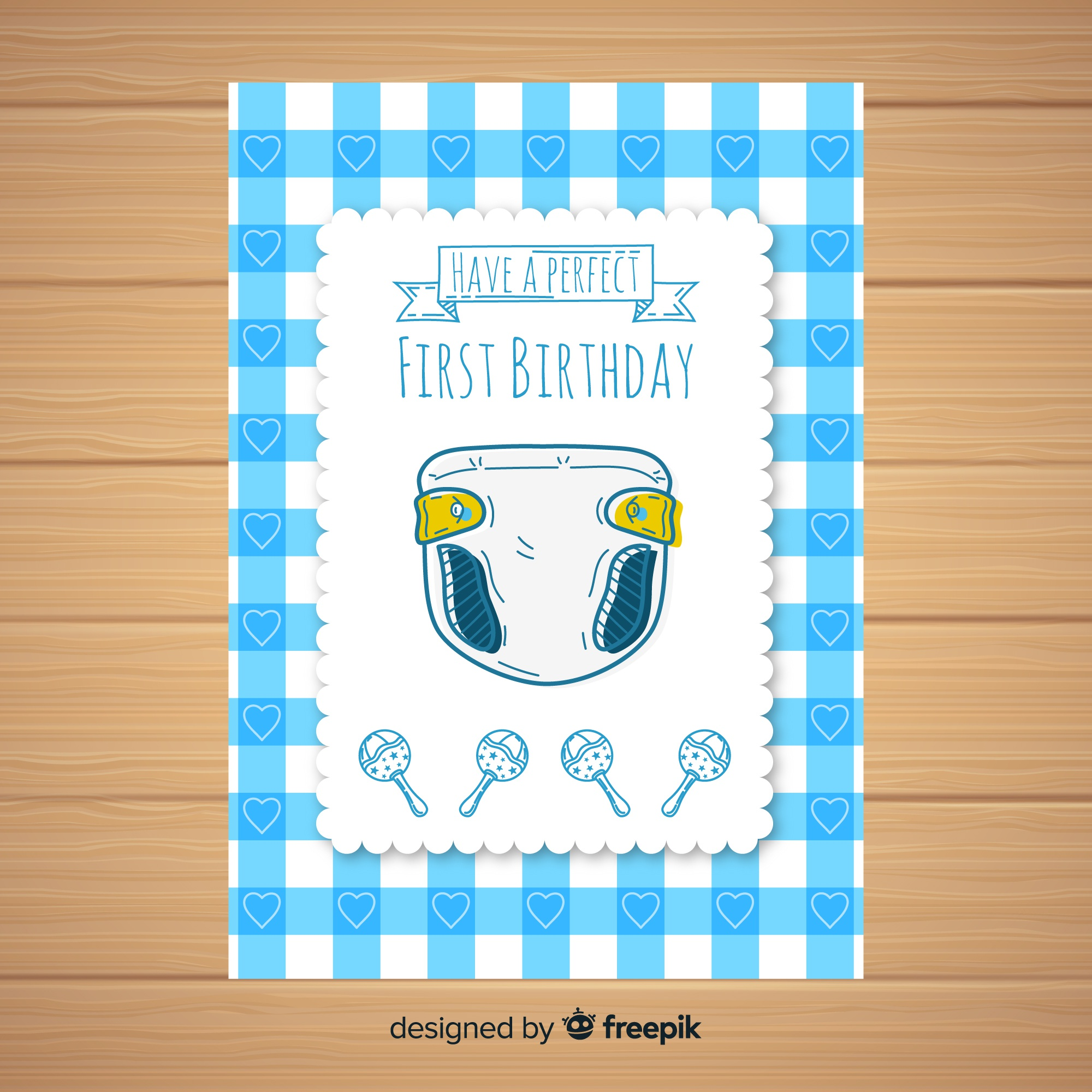 First birthday hand drawn diaper card template