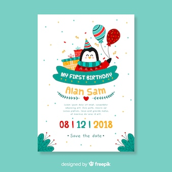 First birthday hand drawn penguin card template