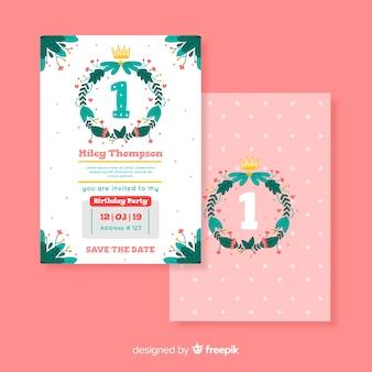 First birthday hand drawn wreath card template