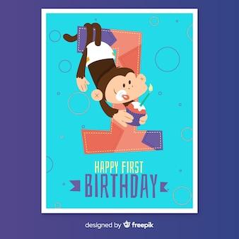 Primo compleanno scimmia felice saluto
