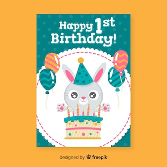 First birthday happy rabbit greeting