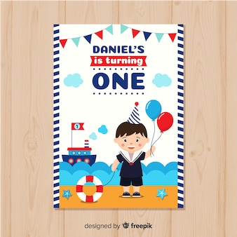 First birthday invitation card  with a sail theme