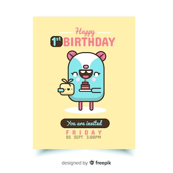 First birthday invitation card with lovely character