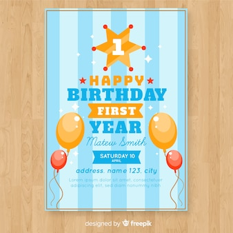 First Birthday Invitation Card With Striped Background