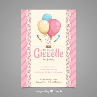 First Birthday Lace Balloons Invitation