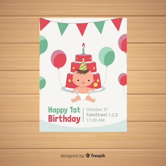 First birthday party card