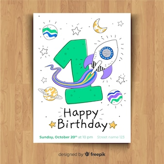 First birthday party invitation card