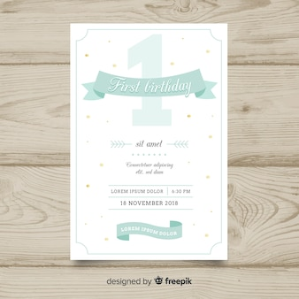 First birthday pastel color number card template