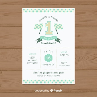 First birthday race card template