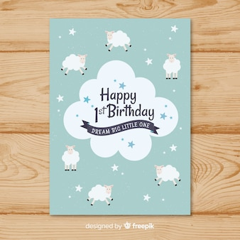First birthday sheeps card template