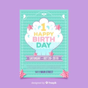 First birthday shell card