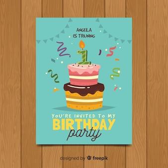 첫 생일 두 레이어 케이크 카드 템플릿