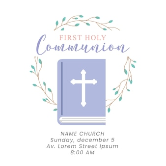 First communion card with bible and leaves crown. vector illustration