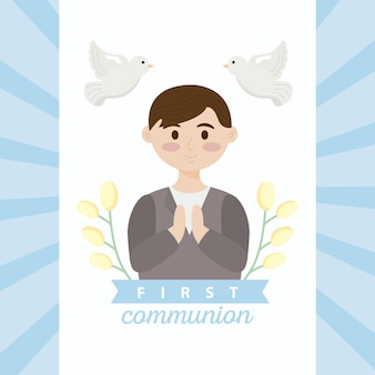First communion card with boy