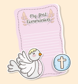 First communion card with dove and wafer host