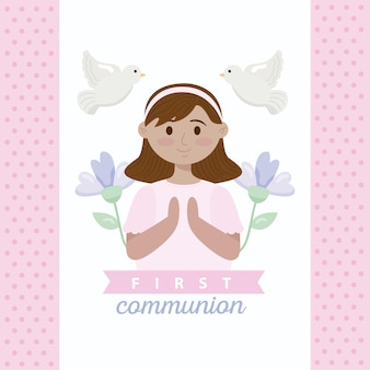 First communion card with girl