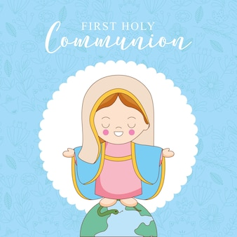 First communion card with holy mary cartoon
