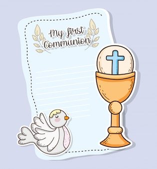 First communion card with host wafer and chaliz with dove
