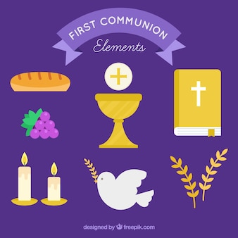 First communion collection in flat design