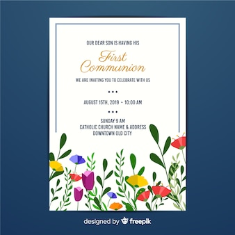 First communion floral invitation