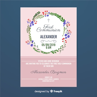 First communion floral wreath invitation