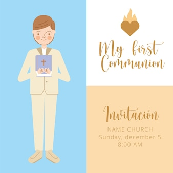 First communion invitation card with boy. vector illustration