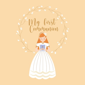 First communion invitation card with girl. vector illustration