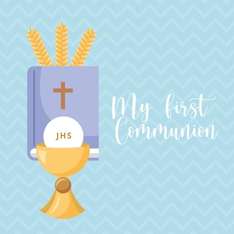First communion invitation card with pyx and bible. vector illustration