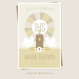 First communion invitation in vintage style