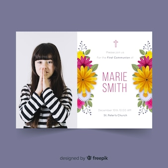 First communion invitation template with hoto