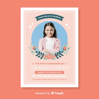 First communion invitation template with photo