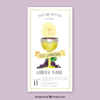 First communion invitation with chalice