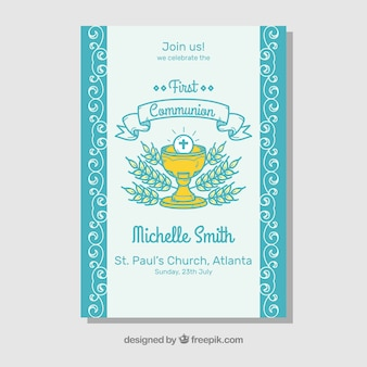 First communion invitation with hand drawn chalice