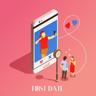 First date isometric design concept