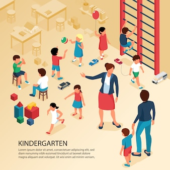 First day kindergarten activities isometric composition with teacher parent with child playing kids poster text