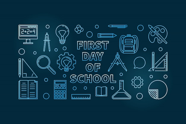 First day of school blue outline horizontal banner