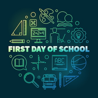 First day of school round bright linear illustration