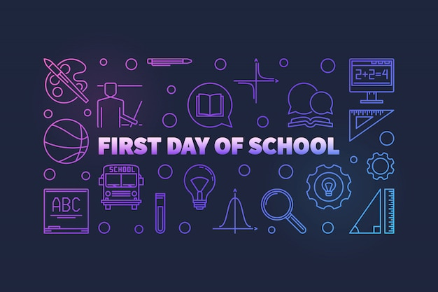 First day of school vector colorful thin line illustration