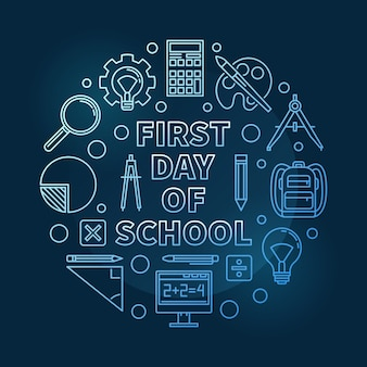 First day of school vector round blue thin line illustration