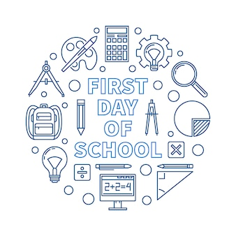 First day of school vector round outline blue illustration