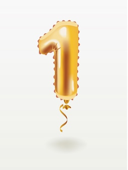 First inflatable golden number 1 four with golden ribbon isolated on white background.