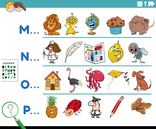 子供のための単語教育タスクの最初の文字