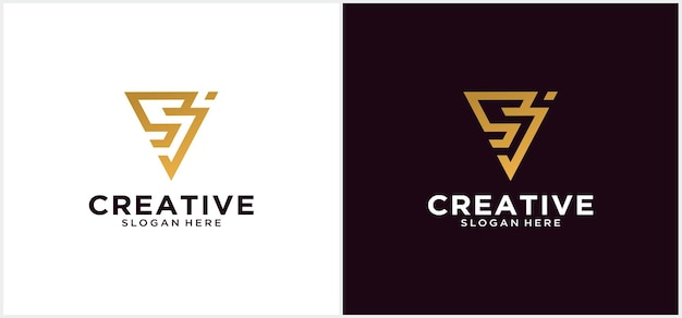 Первая буква s, j логотип, строчный треугольник белый и черный фон