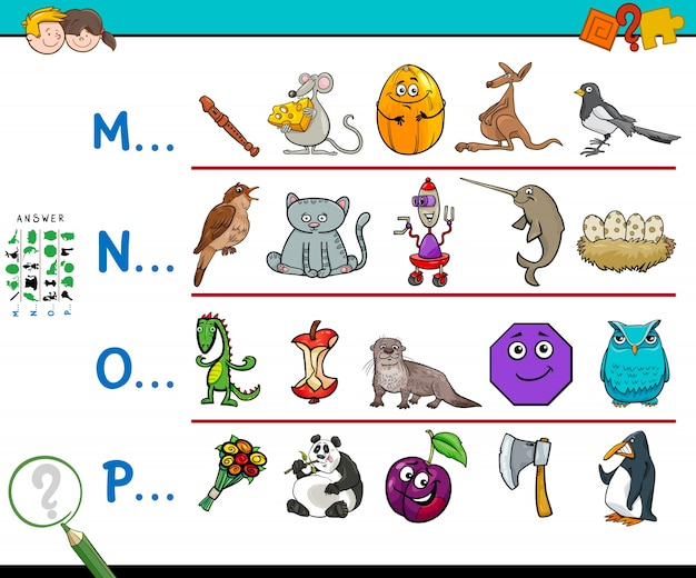 First letter of a word activity game for kids