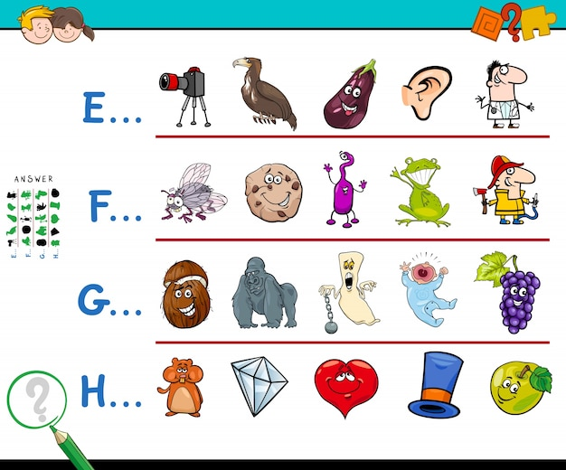 First letter of a word activity for kids