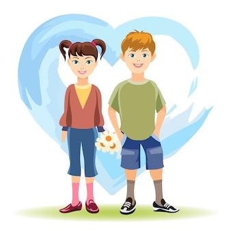 첫사랑 개념. 소년과 푸른 심장의 배경에 꽃과 소녀