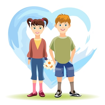 Primo concetto di amore. ragazzo e ragazza con fiori su sfondo di cuore blu