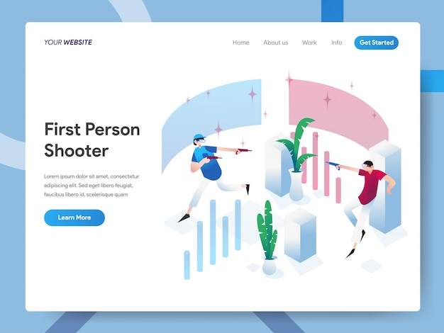 First person shooter isometric illustration for website page